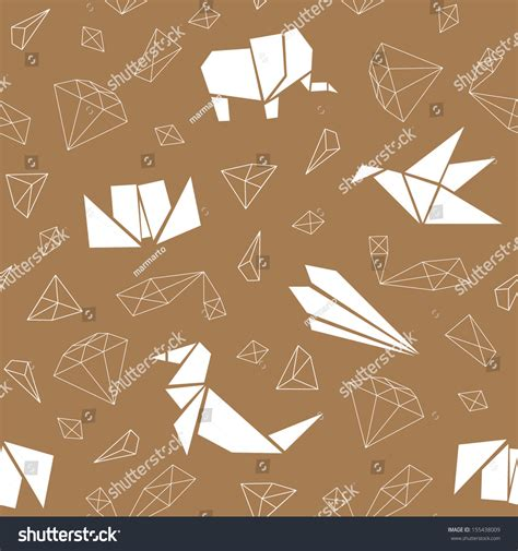 origami pattern vector abstract seamless pattern with origami animals geometric