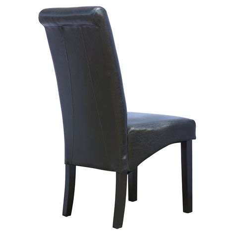 6 x cambridge leather black dining chair w wood legs