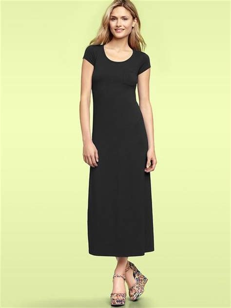 Gap Dress gap tshirt maxi dress in black true black lyst