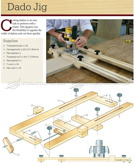 router plans woodworking free router dado jig plans woodarchivist