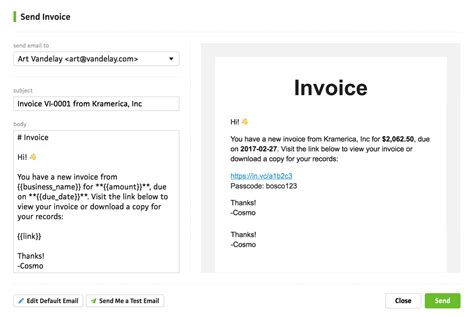 Sending Invoices Cushion Send Email Template
