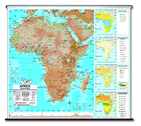 africa map features physical continent school roller wall maps