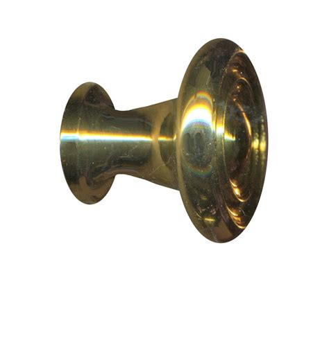 cabinet knob bright solid brass spooled 1 quot dia