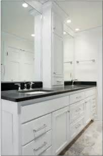 Bathroom Counter Storage Tower Sink Vanity W Center Tower Contemporary Bathroom Milwaukee By A Fillinger Inc