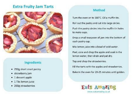 printable picture recipes extra fruity jam tarts recipe eats amazing