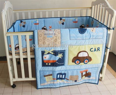 Baby Crib Items New Blue Cars Airplan Boy Baby Crib Cot Bedding Set 3