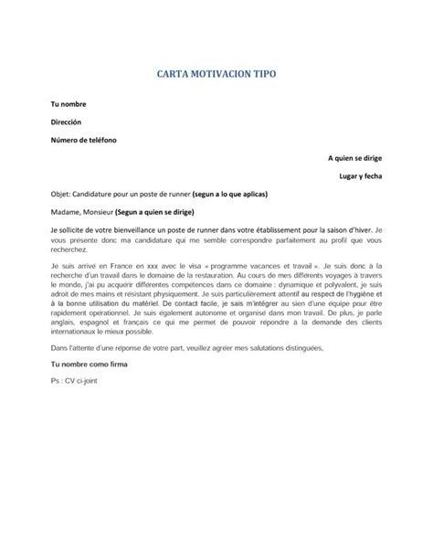ejemplo de carta para la visa curriculum y carta de motivacion en frances para encontrar trabajo