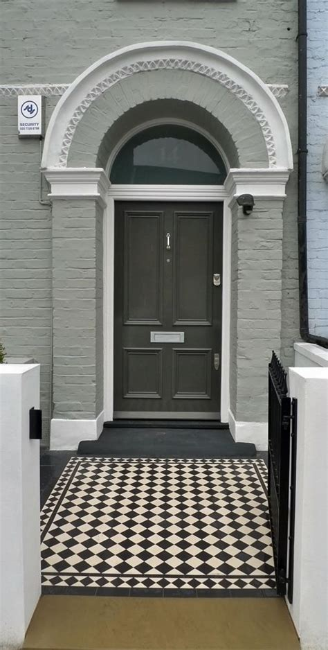 Front Door Entrance Furniture Tile Pattern Black And White Classic 70mm Front Garden
