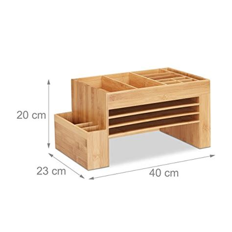 schreibtisch aufbewahrungsbox relaxdays schreibtisch organizer bambus ablagesystem f