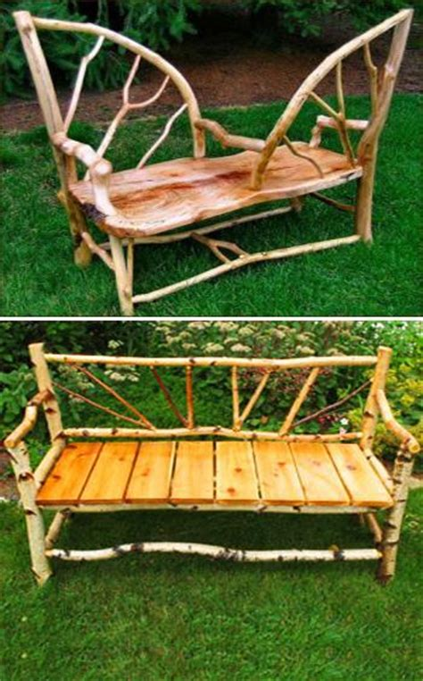 Handmade Garden Bench - handmade garden benches adding rustic vibe to backyard designs