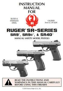 Ruger Sr Series Pistol Owners Instruction And Maintenance