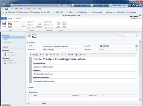 Crm 2011 How To Add A Knowledge Base Article Hosk S Dynamic Crm Blog Microsoft Kb Article Template