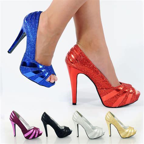 size 3 shoes womens high stiletto heel glitter platform peep toe