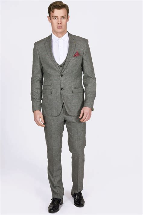Three Suit Grey Heritage Checked Three Suit With Paisley Lining