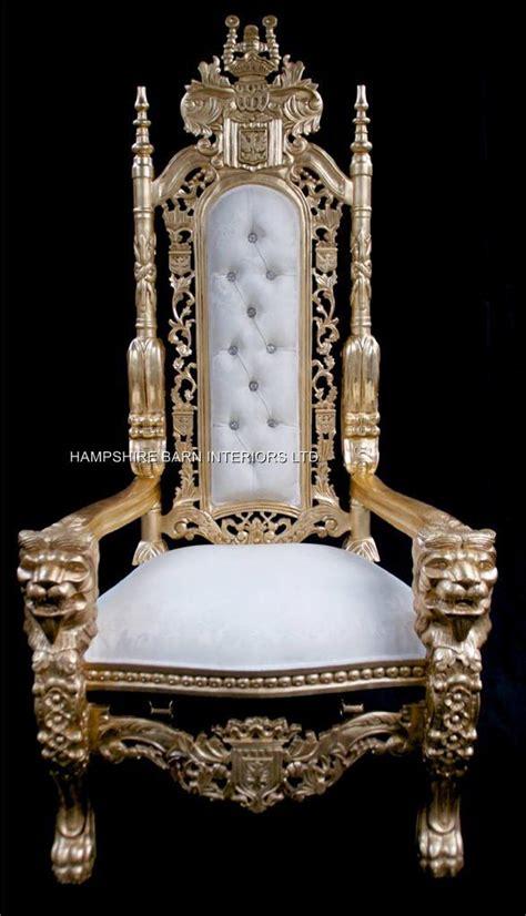 aa gold lion king throne chair  ivory cream damask fabric hampshire barn interiors