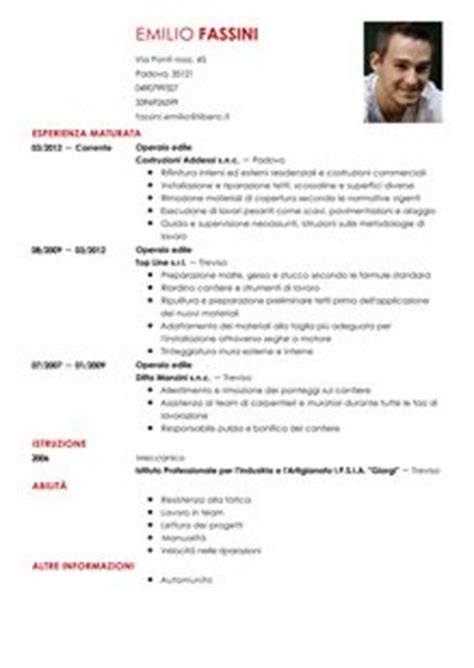 Modelo Curricular Generico Curriculum Vitae Operaio Edile Modello Livecareer