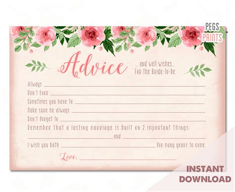 instant card downloads bridal advice cards instant advice for the