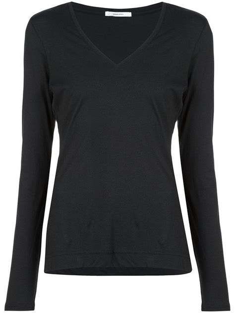 V Neck Sleeved Top lyst adam lippes sleeved v neck top in black