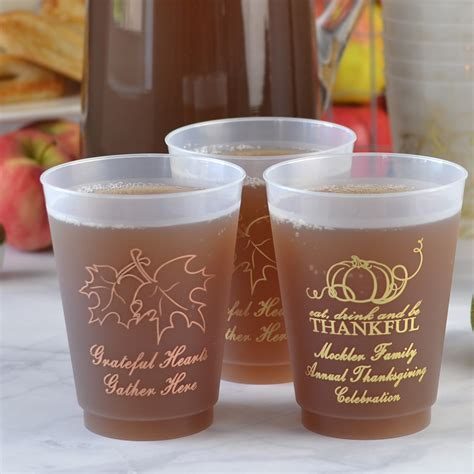 Fall Wedding Cups   16 Oz. Plastic Frosted Personalized