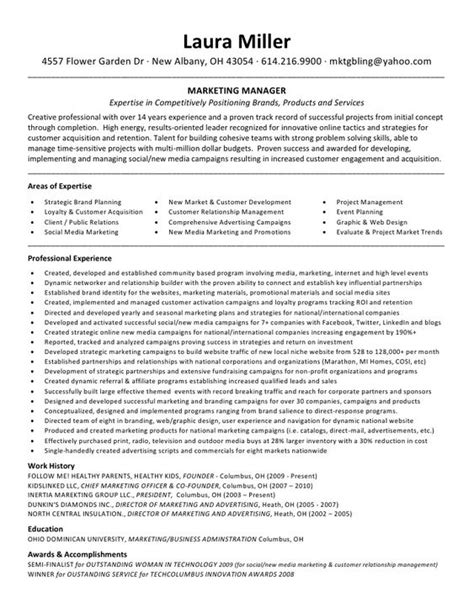 Manager Profile Resume by Resumes Profile Marketing Project Manager Resume And
