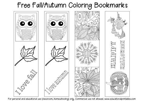 free printable educational bookmarks free fall autumn coloring bookmarks educational printables