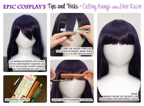 how to cut hair with feathing and bangs cutting bangs with a hair razor epiccosplay wigs