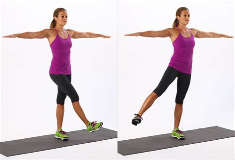 one arm swings active stretching for legs and hips popsugar fitness