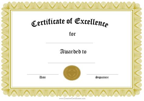 template for award certificate certificate templates