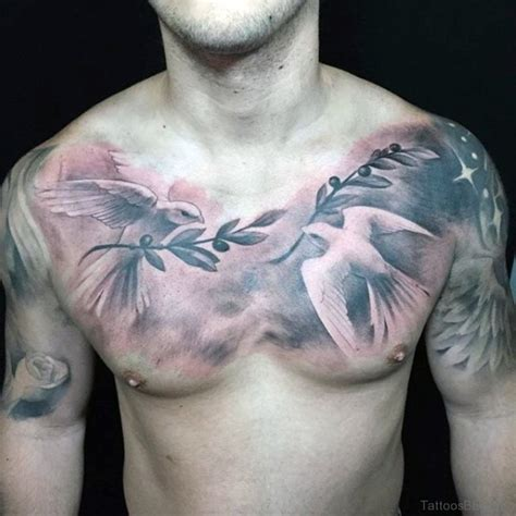 dove with olive branch tattoo 55 favorite birds tattoos on chest