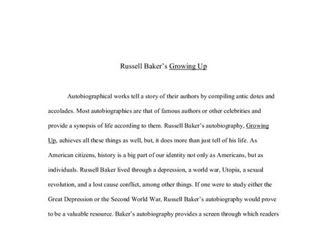 Growing Up Essay by Baker S Growing Up A Level History Marked By Teachers
