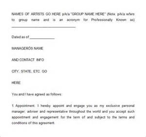 Artist Agreement Template 4 artist management contract templates free pdf word