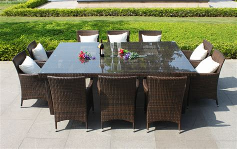 Oxford 10 Seater Wicker Rattan Dining Set :: Outdoor