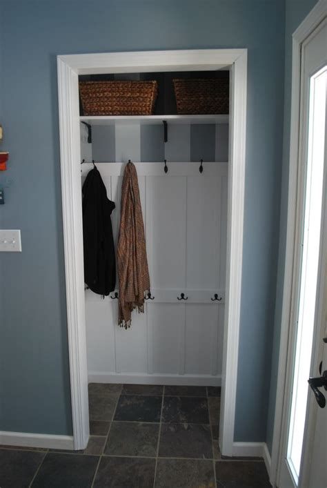 entry closet ideas turned front hall closet into entryway quot mudroom quot for less