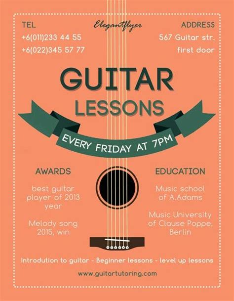 flyer design music guitar lessons free flyer template http freepsdflyer