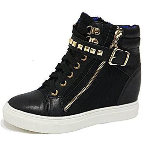 high top black sneakers womens s black gold rock studded buckle