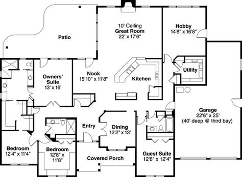 4 Bedroom One Story Ranch Ranch Style House Plans 3000 Square Foot Home 1 Story 4 Bedroom And 3 Bath 3 Garage Stalls