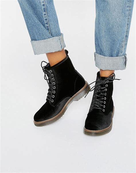 lace up biker boots look look velvet lace up ankle biker boots