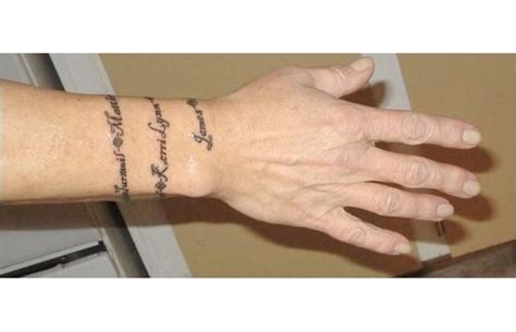 wrist wrap tattoos this wraps around my wrist it is the names of my