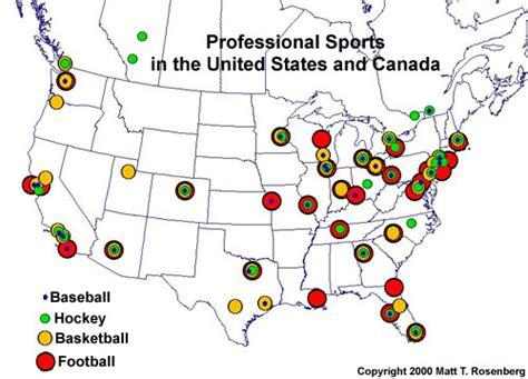 united states of baseball map geography of pro sports football hockey baseball and