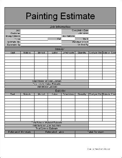 Painting Contractor Quote Template Free Basic Painting Estimate Form From Formville