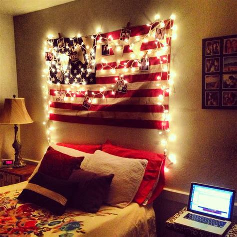 diy dorm headboard college dorm space with american flag display