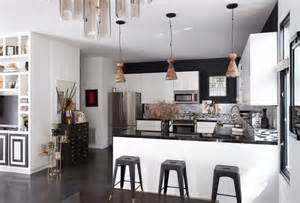 contemporary kitchen pendant lights over a kitchen bar