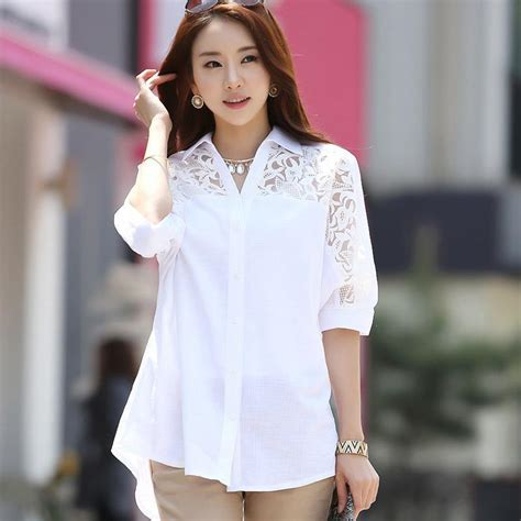 Blouse Cotton Lace G216533 plus size blouses white cotton lace patchwork turn collar batwing sleeve fashion
