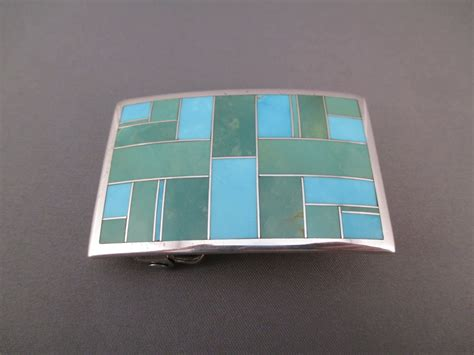 inlaid turquoise sterling silver belt buckle two grey