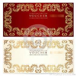 Fancy Gift Certificate Template by Voucher Gift Certificate Template Gold Pattern Royalty