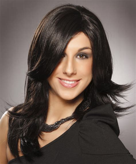 short hairstyles for women oval face shapes0010 stylehitz long straight formal hairstyle black