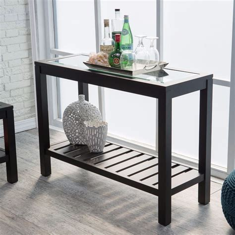 espresso wood accent entryway display console table with black console table sofa entryway furniture glass top wood