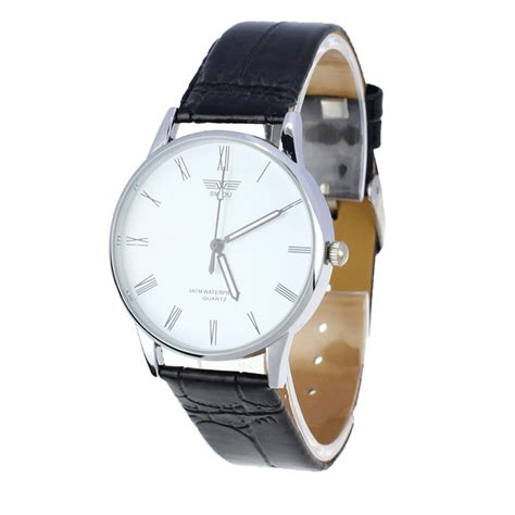 classic mens number quartz electronic leather wrist