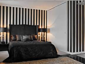 amazing accents of black and white bedroom interior design ideas with striped wallpaper and