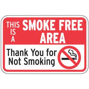 This is a smoke free area aluminum sign no smoking rules signs